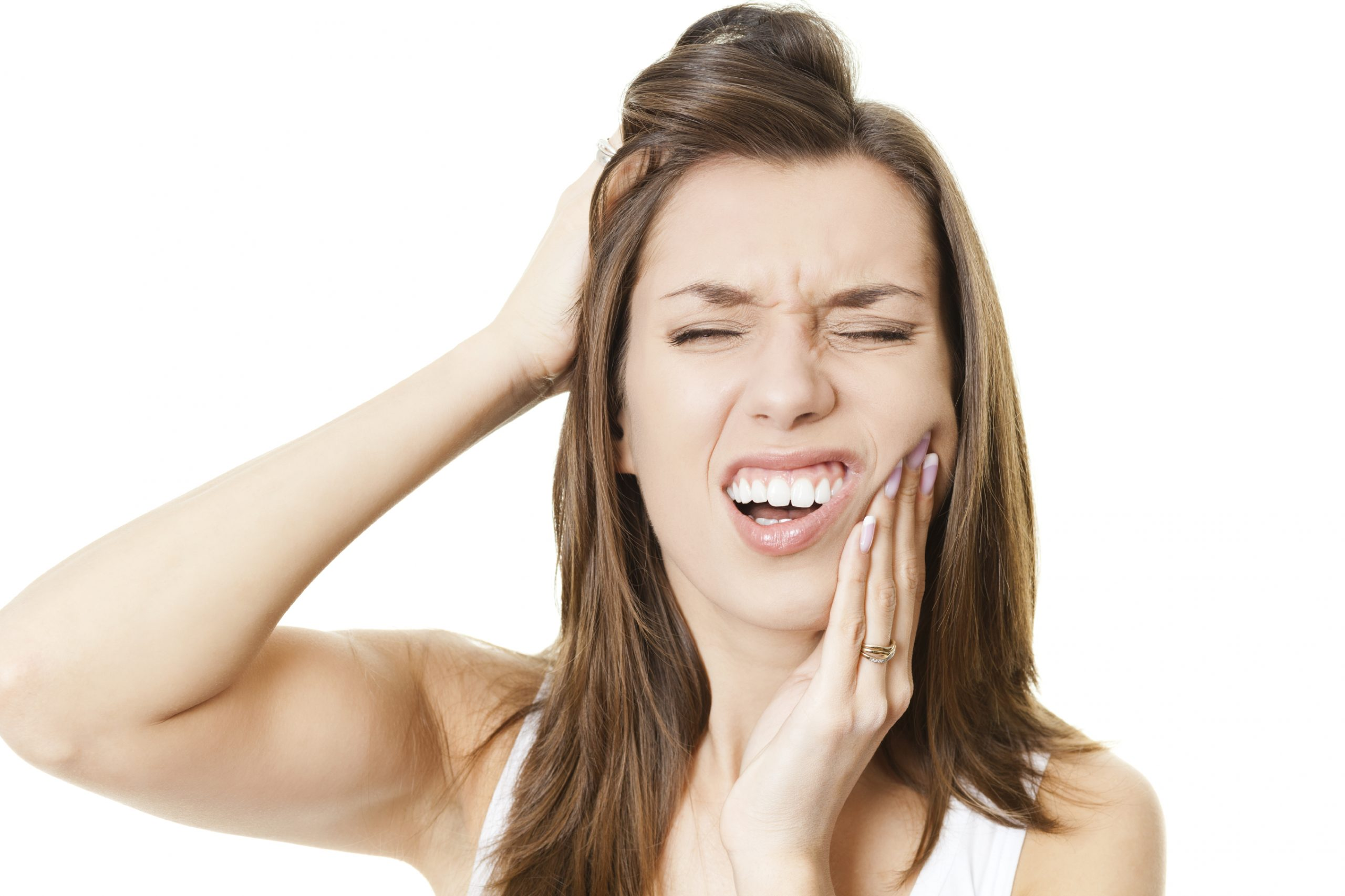 Woman in pain because of wisdom teeth